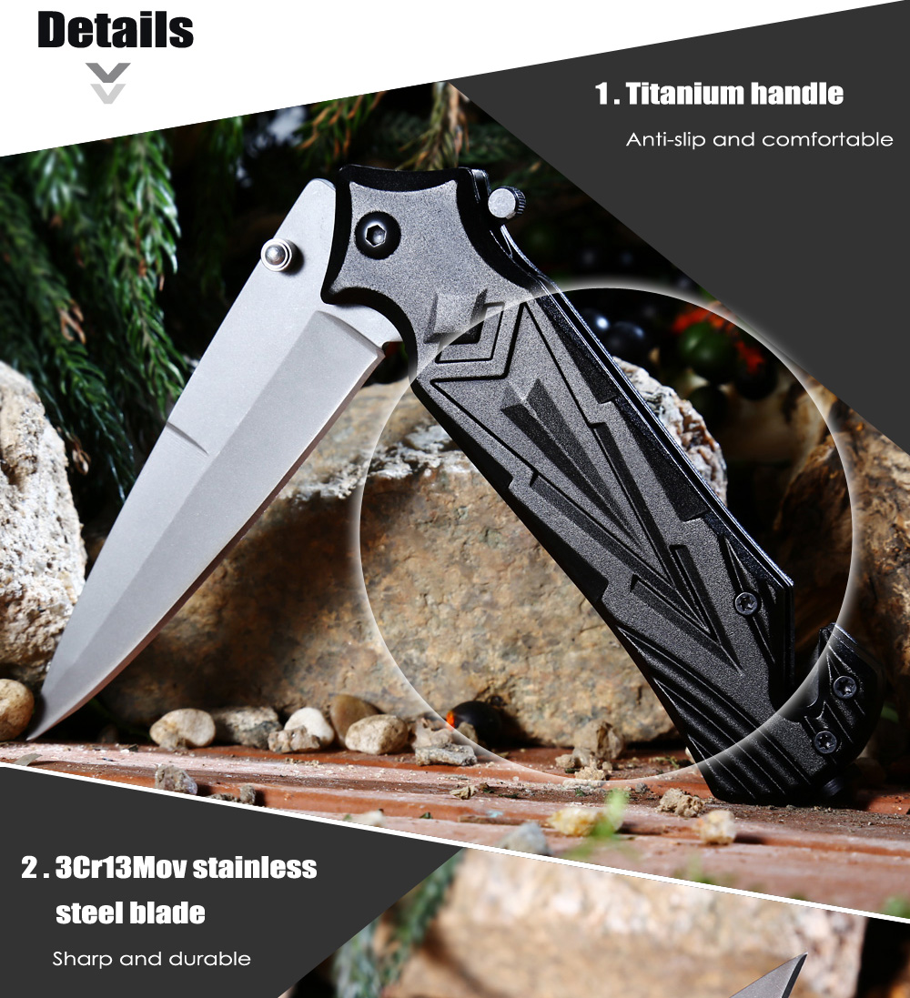 PA47 Portable Liner Lock Folding Knife with Semi-auto Open Design