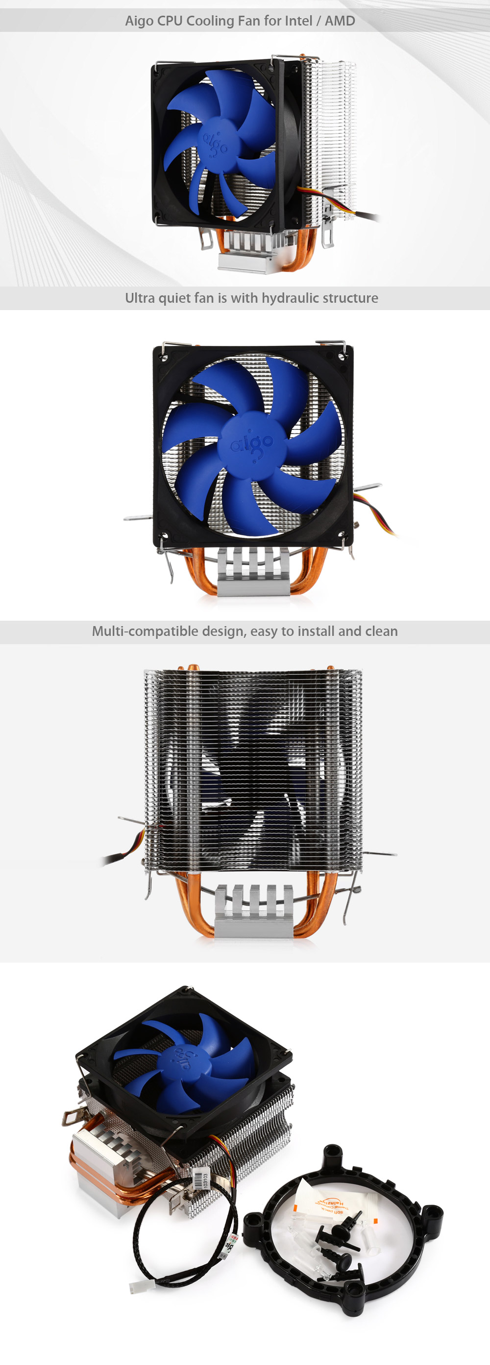 Aigo Dark Knight M4 CPU Cooling Fan for Intel / AMD
