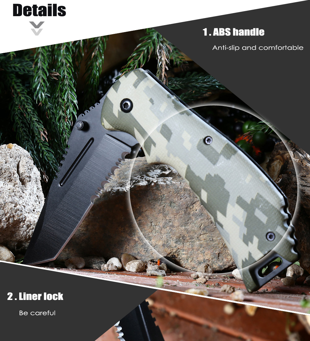 PA65 Portable Liner Lock Folding Knife with 440 Stainless Steel Blade