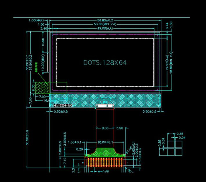 5 - 100mW COG12864 LCD Module with Backlight for DIY Project