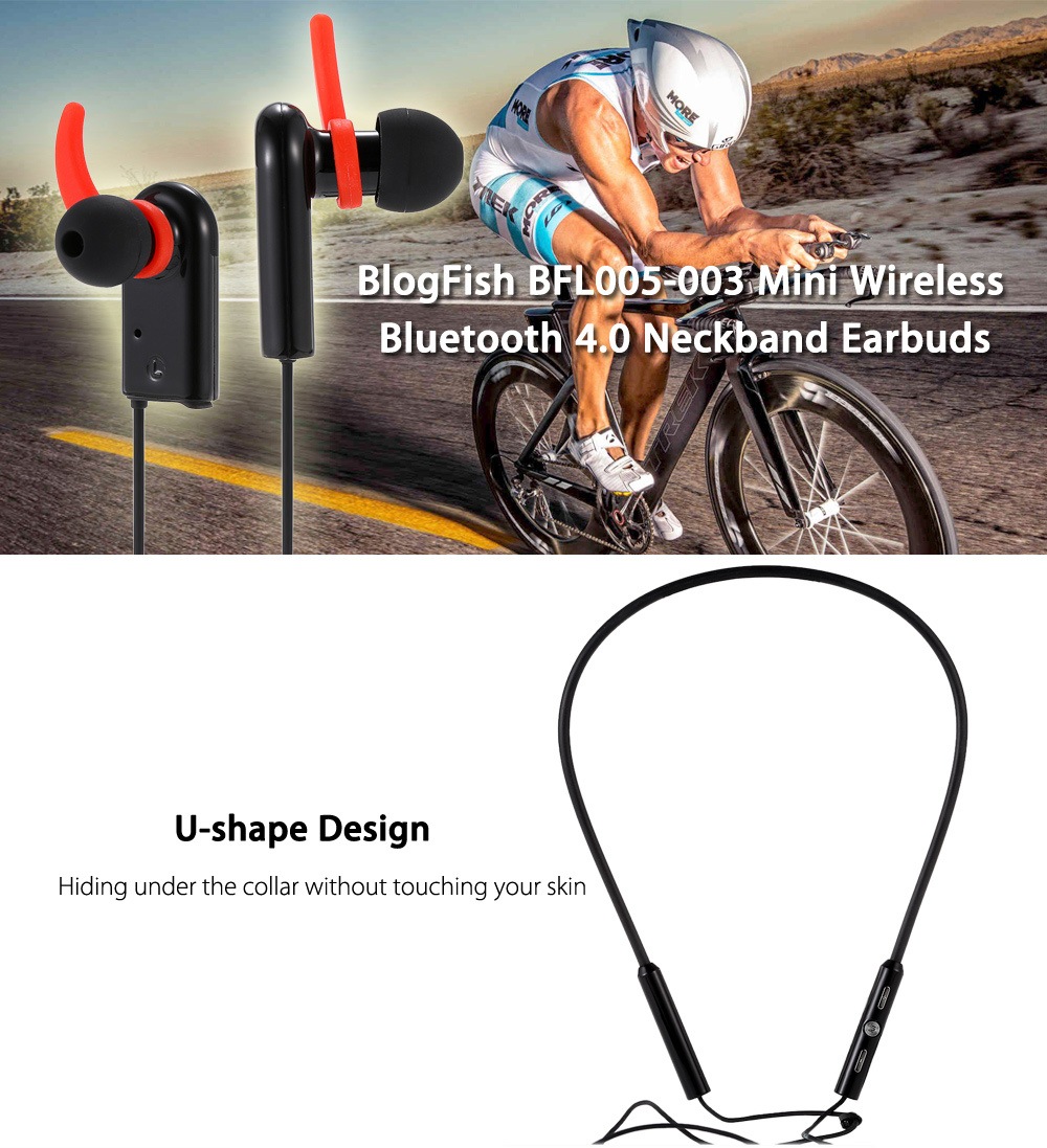 Original BlogFish BFL005-003 Mini Wireless Bluetooth 4.0 Neckband Earbuds with Microphone Support Hands-free Calls