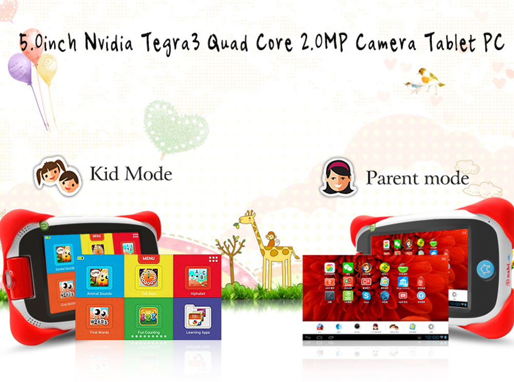 Nabi JR - NV5B 5.0 inch Kids Tablet PC Android 4.1 NVIDIA Tegra 3 Quad Core 1.2GHz 1GB RAM 16GB ROM 2.0MP Rotating Lens Bluetooth 4.0
