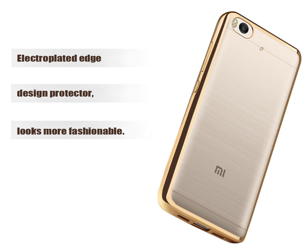ASLING TPU Soft Protective Phone Case for Xiaomi 5S Ultrathin Transparent Shell Electroplated Edge