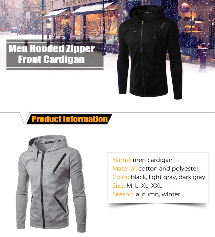 Men Hooded Zipper Front Cardigan Slim-fit Jacket for Autumn Winter