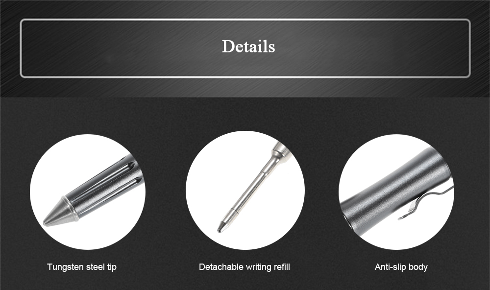 Aviation Aluminum-alloy Tactical Pen with Tungsten Steel Tip