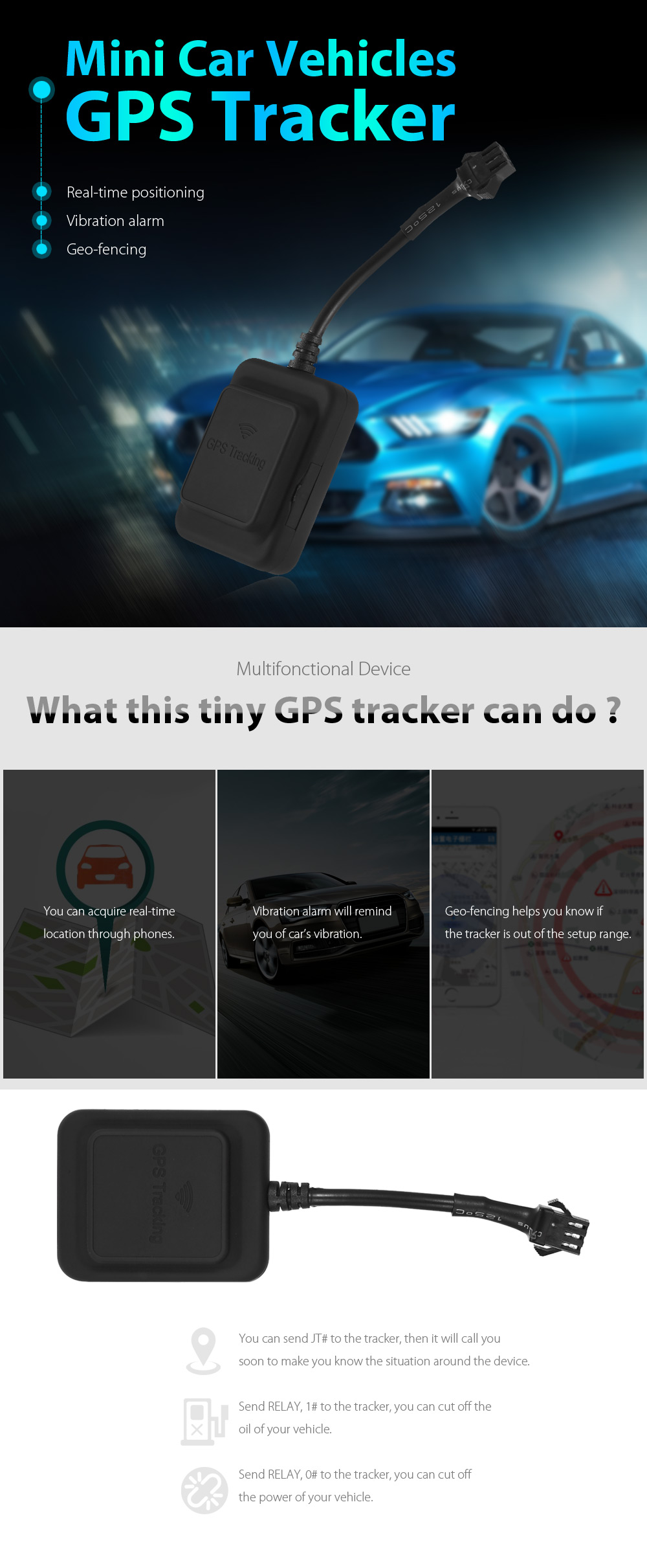 GPS Tracker for Car Vehicles with Geo-fencing Vibration Alarm