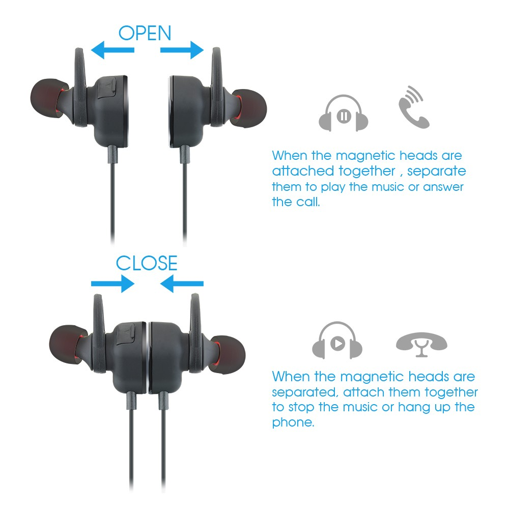 MPOW Magneto Built-in Mic Bluetooth 4.0 Stereo Headset Sport Style In-ear Headphone