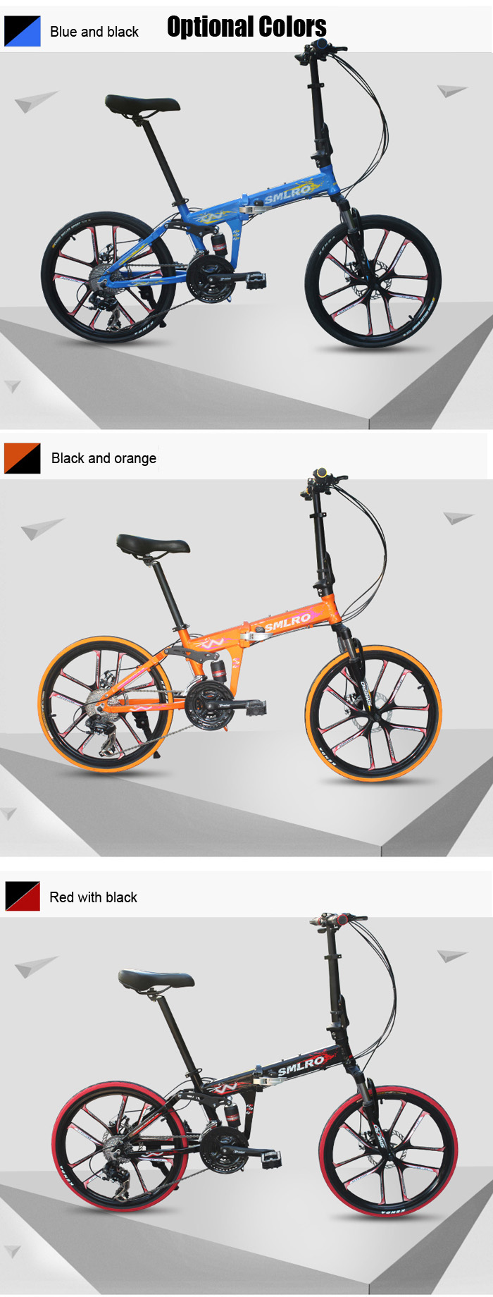 SMLRO MX690 20 inch Folding Mountain Bike 24 Speed 10-spoke Integral Wheel Aluminum Alloy Frame Double Disc Brakes Cycling Bicycle