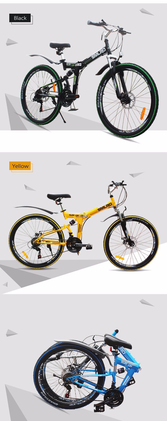 SMLRO MX300 26 inch Folding Mountain Bike 21 Speed Spoked Wheel High-carbon Steel Frame Double Disc Brakes Cycling Bicycle