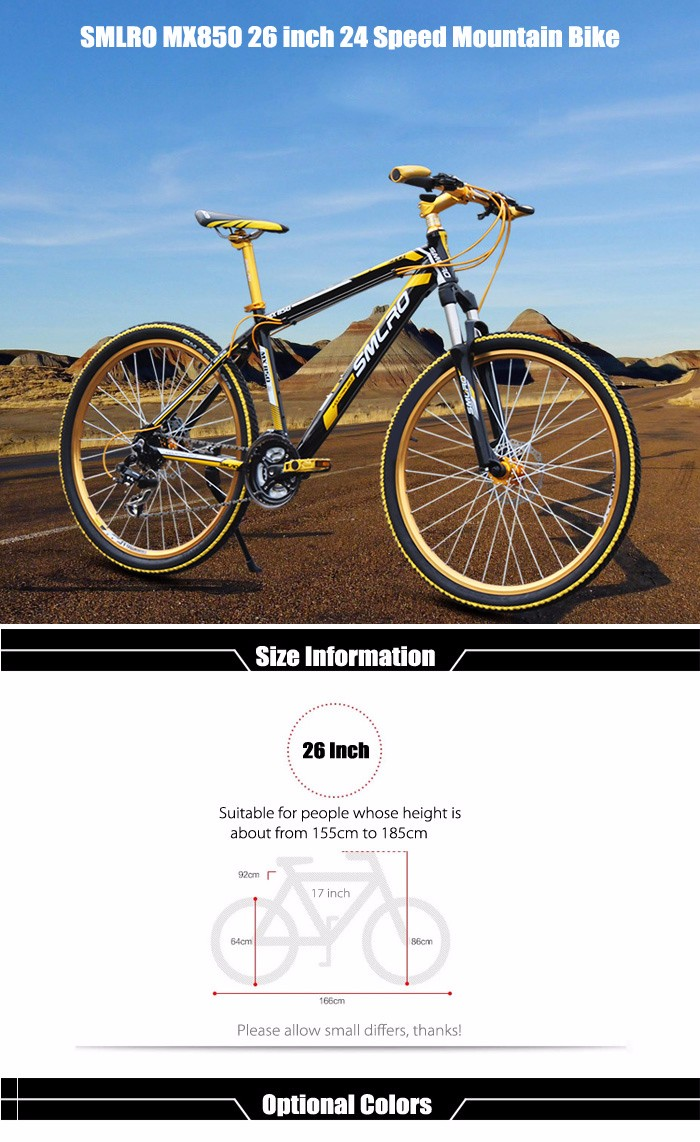 SMLRO MX850 26 inch Mountain Bike 24 Speed Drop Bars Spoked Wheel Aluminum Alloy Frame Double Disc Brakes Cycling Bicycle