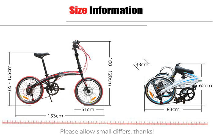 SMLRO MX370 20 inch 7 Speed Ultralight Folding Road Bike Aluminum Alloy Frame Disc Brake Cycling Bicycle
