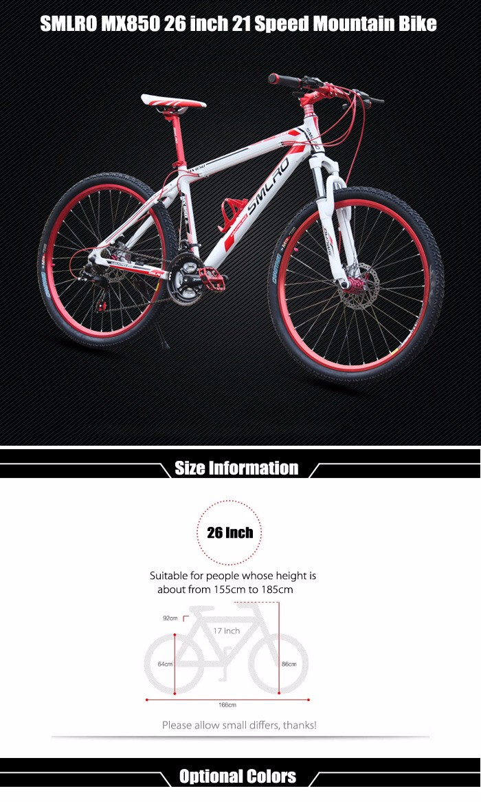 SMLRO MX850 26 inch Mountain Bike 21 Speed Straight Handlebar Spoked Wheel Aluminum Alloy Frame Double Disc Brakes Cycling Bicycle