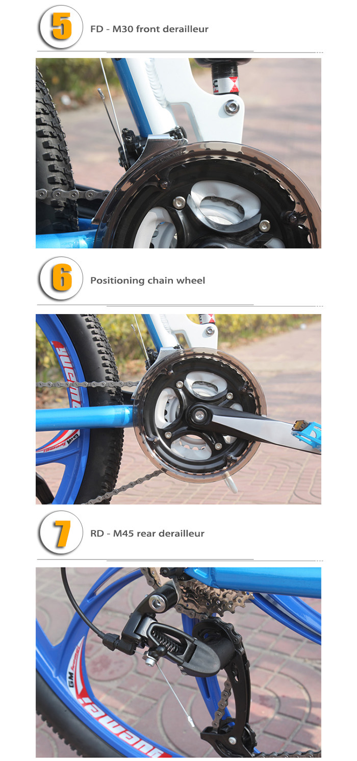 SMLRO MX980 26 inch Folding Mountain Bike 27 Speed Integrated Wheel Aluminum Alloy Frame Double Disc Brakes Cycling Bicycle
