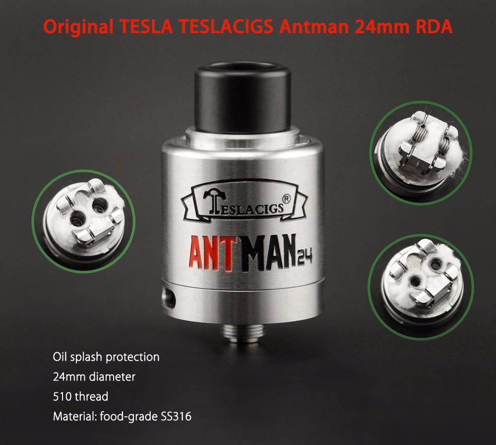 Original TESLA TESLACIGS Antman 24mm RDA with Brand-new Deck Design / Bottom Adjustable Airflow for E Cigarette