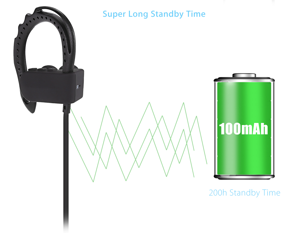Q12 Bluetooth 4.1 Music Sport Earbuds Support Hands-free Calls Volume Control Song Switch