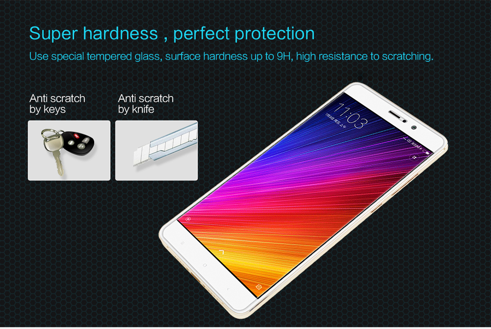 Nillkin Tempered Glass Screen Protective Film for Xiaomi 5S Plus Ultra-thin 0.2mm 2.5D 9H Anti UV Explosion-proof Protector