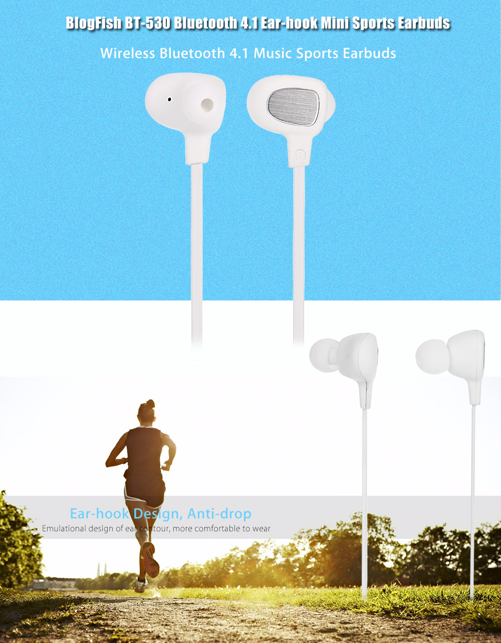 Original BlogFish BT-530 Bluetooth 4.1Ear-hook Mini Sports Earbuds with Volume Control Song Switch
