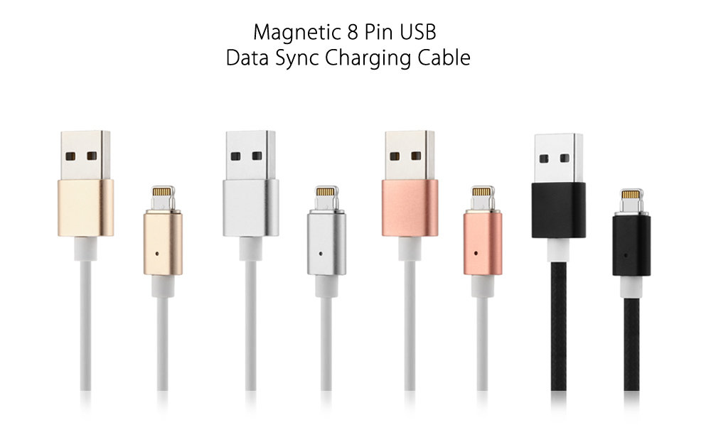 1m Magnetic Connector 8 Pin USB Data Transfer Charging Cable Nylon Pull Resistance Cord for iPhone