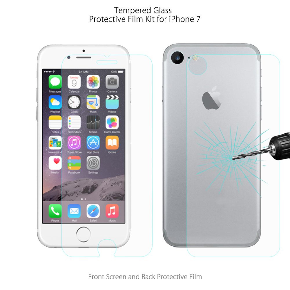 Hat - Prince 0.26mm 2.5D 9H Tempered Glass Screen Protector Back Protective Film for iPhone 7