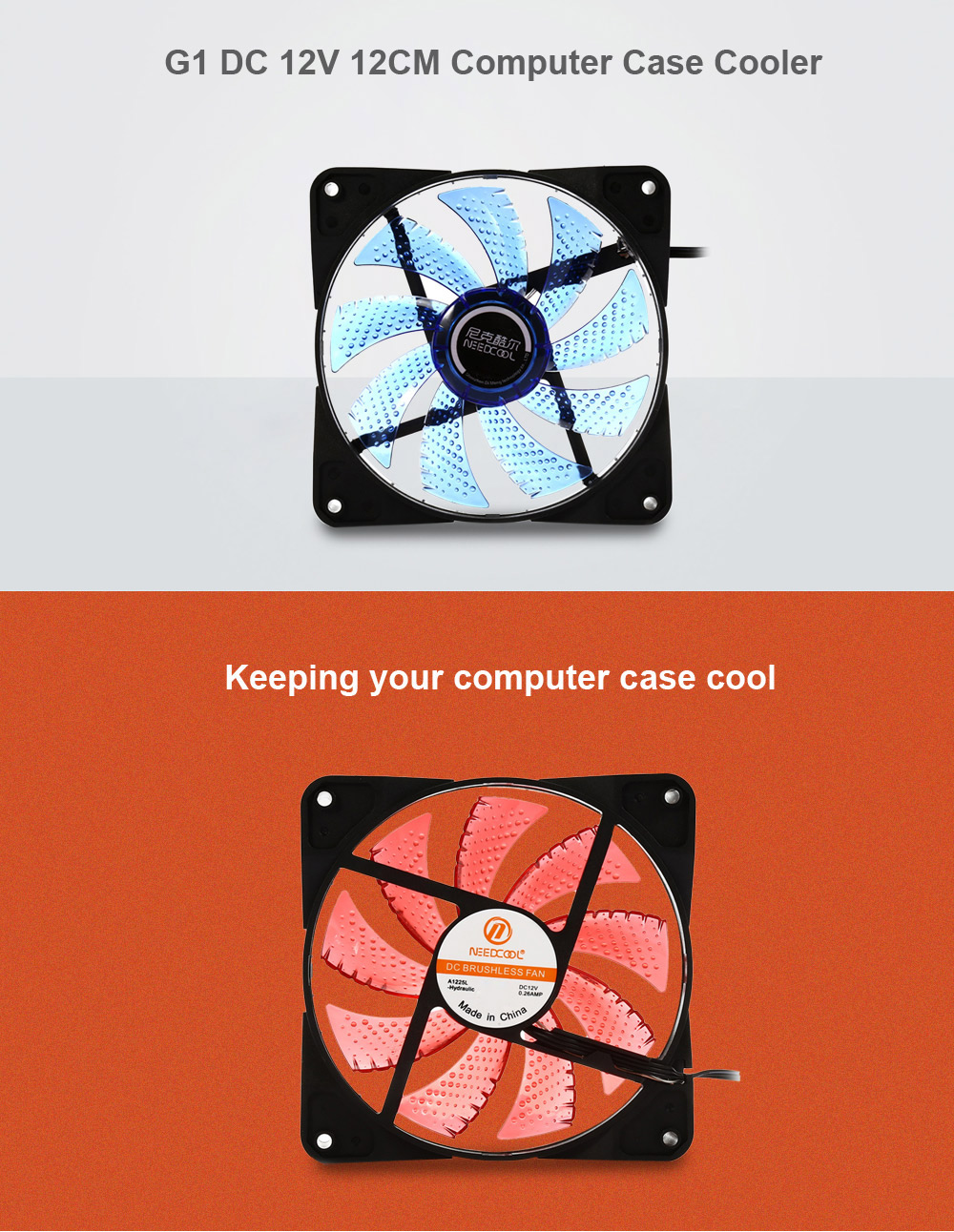 NEEDCOOL G1 DC 12V 12CM Computer Case Cooler with 15 LED Light for PC