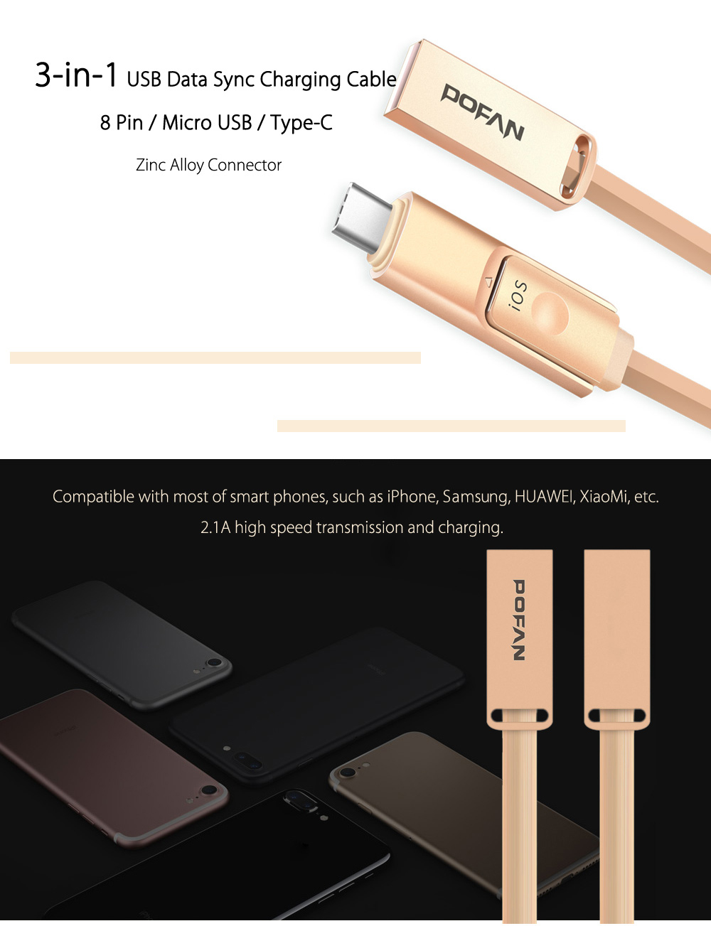 POFAN Zinc Alloy Housing Type-C / Micro USB / 8 Pin Combo Data Transfer and Charging Cable PVC Anti-twining Cord - 120cm