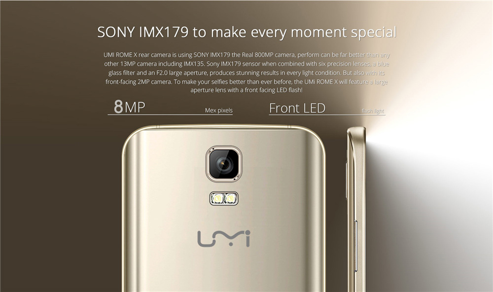 UMI ROME X 5.5 inch 2.5D Arc Screen 3G Phablet Android 5.1 MTK6580 Quad Core 1.3GHz 1GB RAM 8GB ROM GPS WiFi Bluetooth 4.1 Dual WiFi