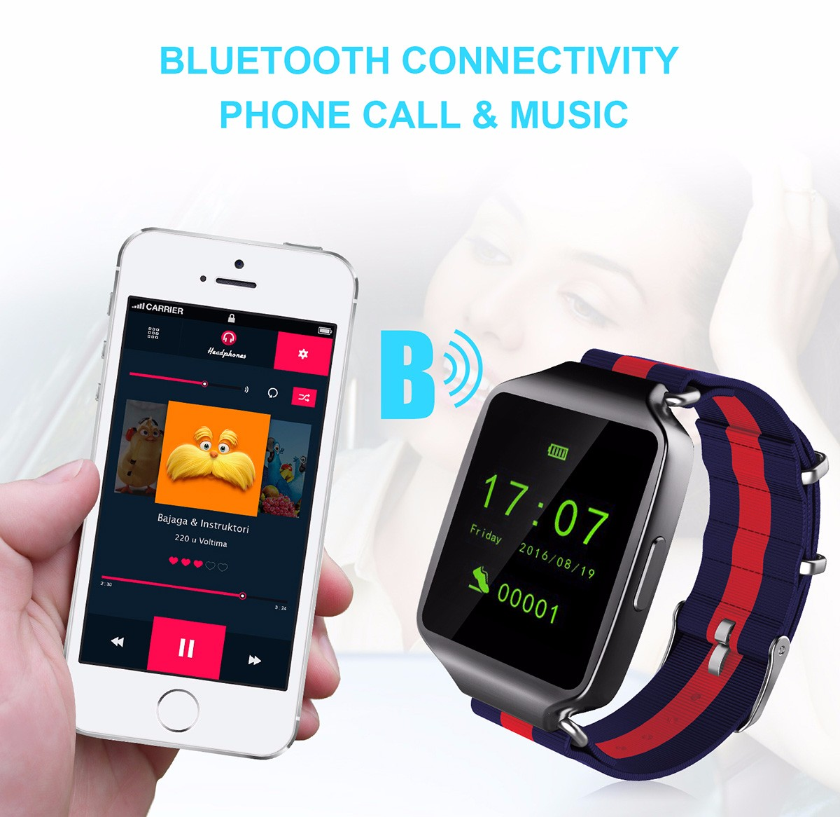 L1 Heart Rate Monitor Smart Wristband with Remote Camera Music