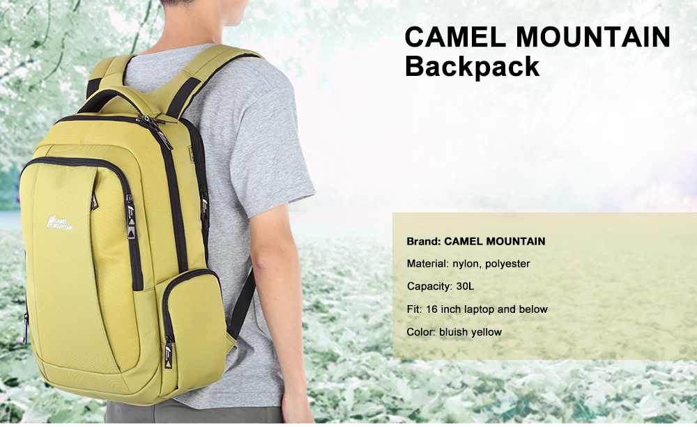 CAMEL MOUNTAIN Nylon / Polyester 30L Leisure Backpack 16 inch Laptop Bag