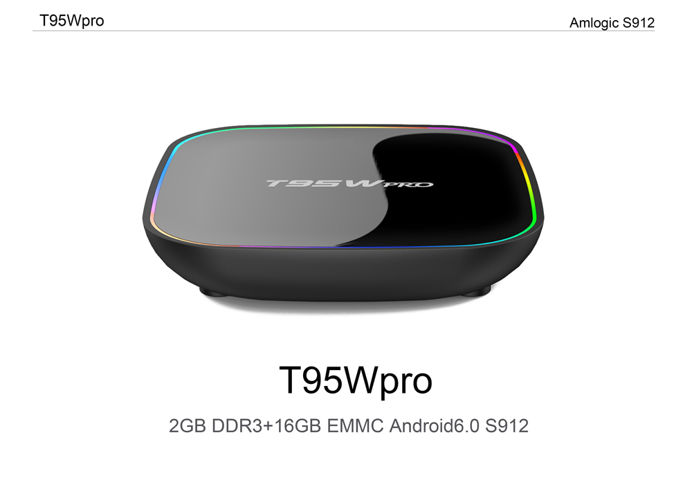 Sunvell T95Wpro Set-top Box Octa-core Amlogic S912 Android 6.0 Support 2.4G + 5G WiFi Bluetooth 4.0 Connectivity