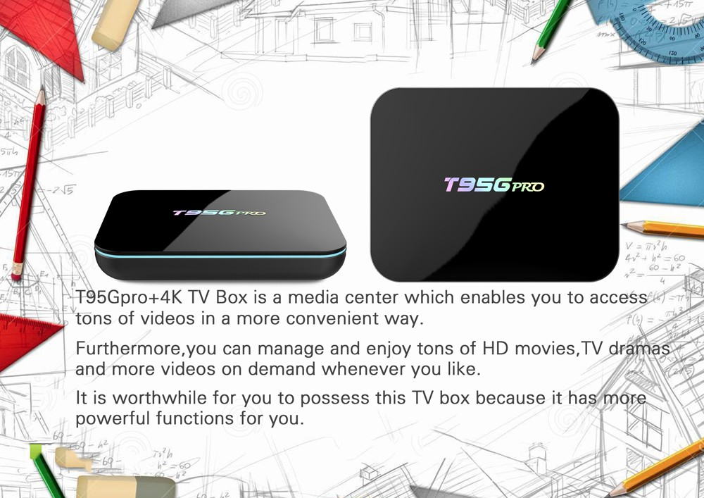 Sunvell T95Gpro TV Box Android 6.0 Amlogic S912 Octa Core 4K x 2K H.265 VP9 Decoding 2.4G + 5G Dual Band WiFi Bluetooth 4.0