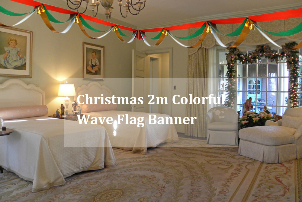 Christmas 2m Colorful Wave Flag Banner with Golden Small Bell