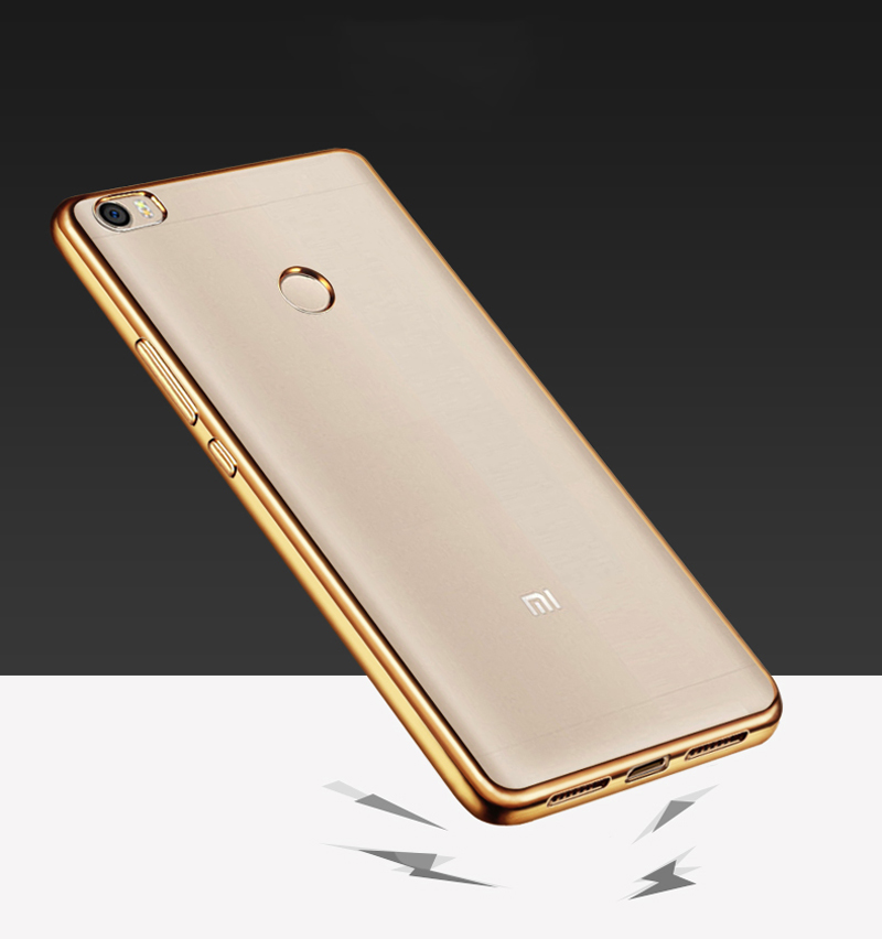 Luanke TPU Soft Protective Case for Xiaomi Max Ultrathin Transparent Style Shell with Electroplated Edge
