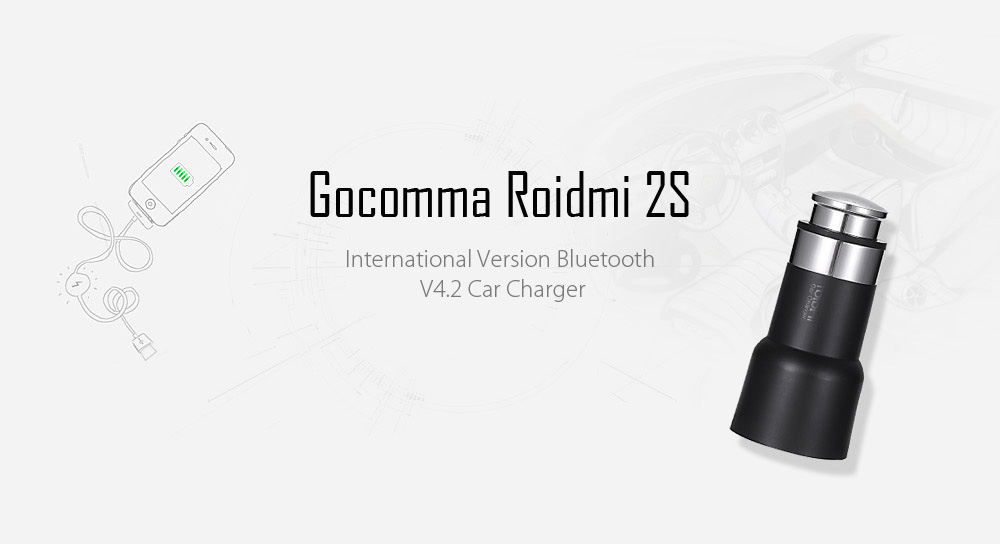 Gocomma Roidmi 2S International Version Bluetooth V4.2 Transmitter Car Charger FM Transmitter APP Real-time Monitor for iOS / Android