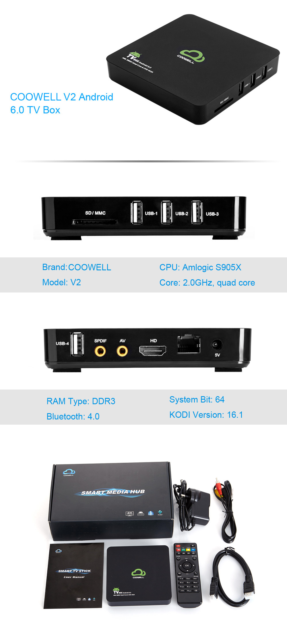 COOWELL V2 Android 6.0 TV Box with Amlogic S905X Quad-core CPU Supporting Bluetooth 4.0 Dual Band WiFi
