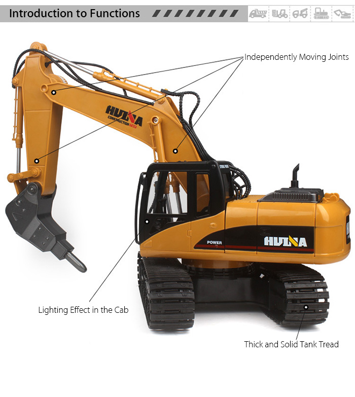 HUINA 560 1:12 2.4GHz 16CH RC Alloy Drilling Truck RTR with Independent Arms Auto Demonstration Function