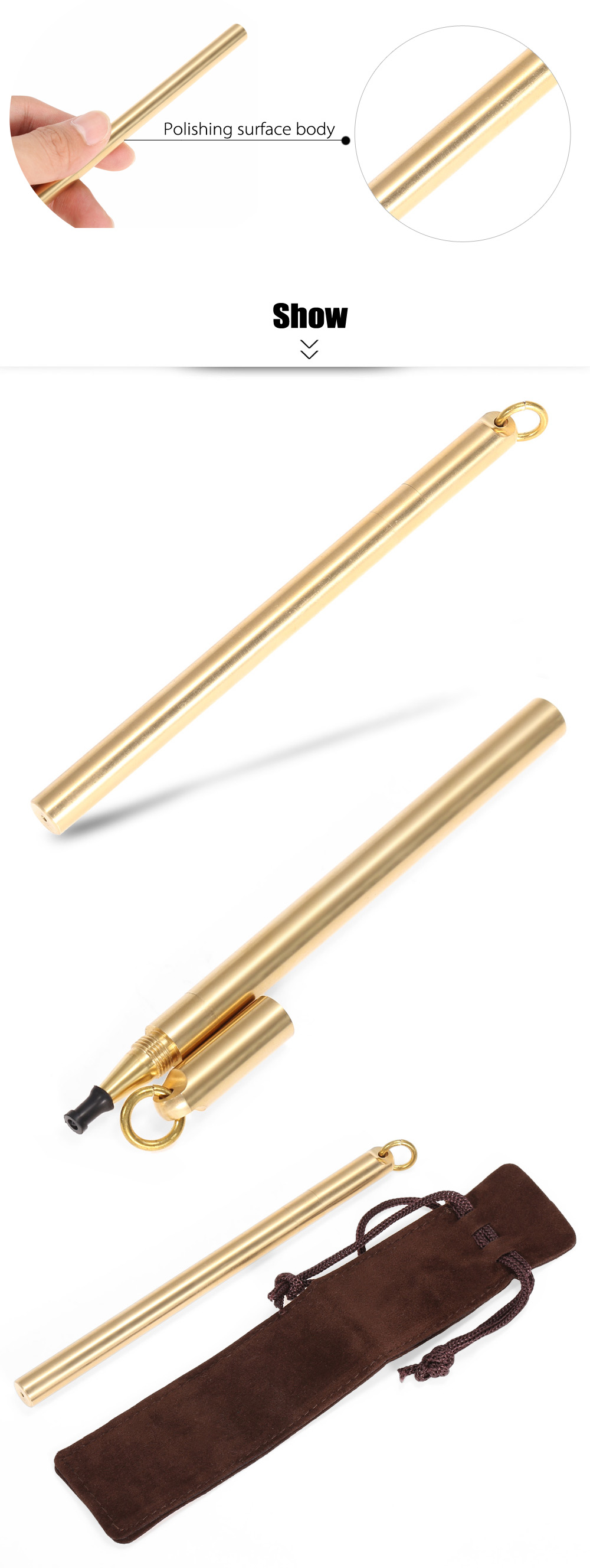 FURA Polishing Surface Brass Tactical Pen with Ring