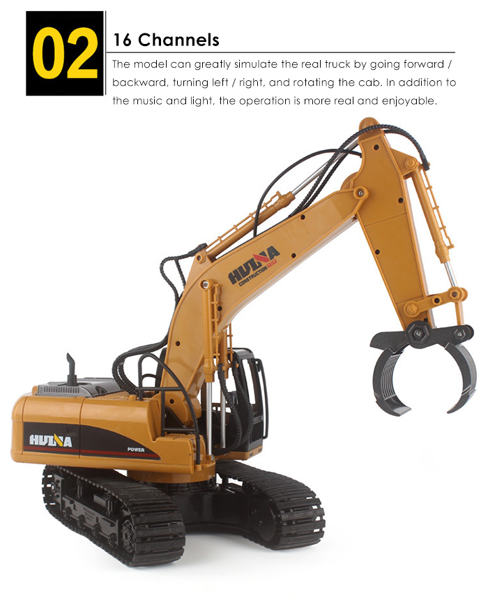 HUINA 1570 1:12 2.4GHz 16CH RC Alloy Log Grabbing Machine with Independent Arms Auto Demonstration Function
