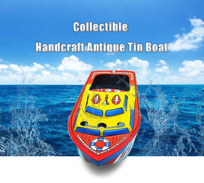 Collectible Handcraft Antique Tin Boat Model Candle Powered Toy