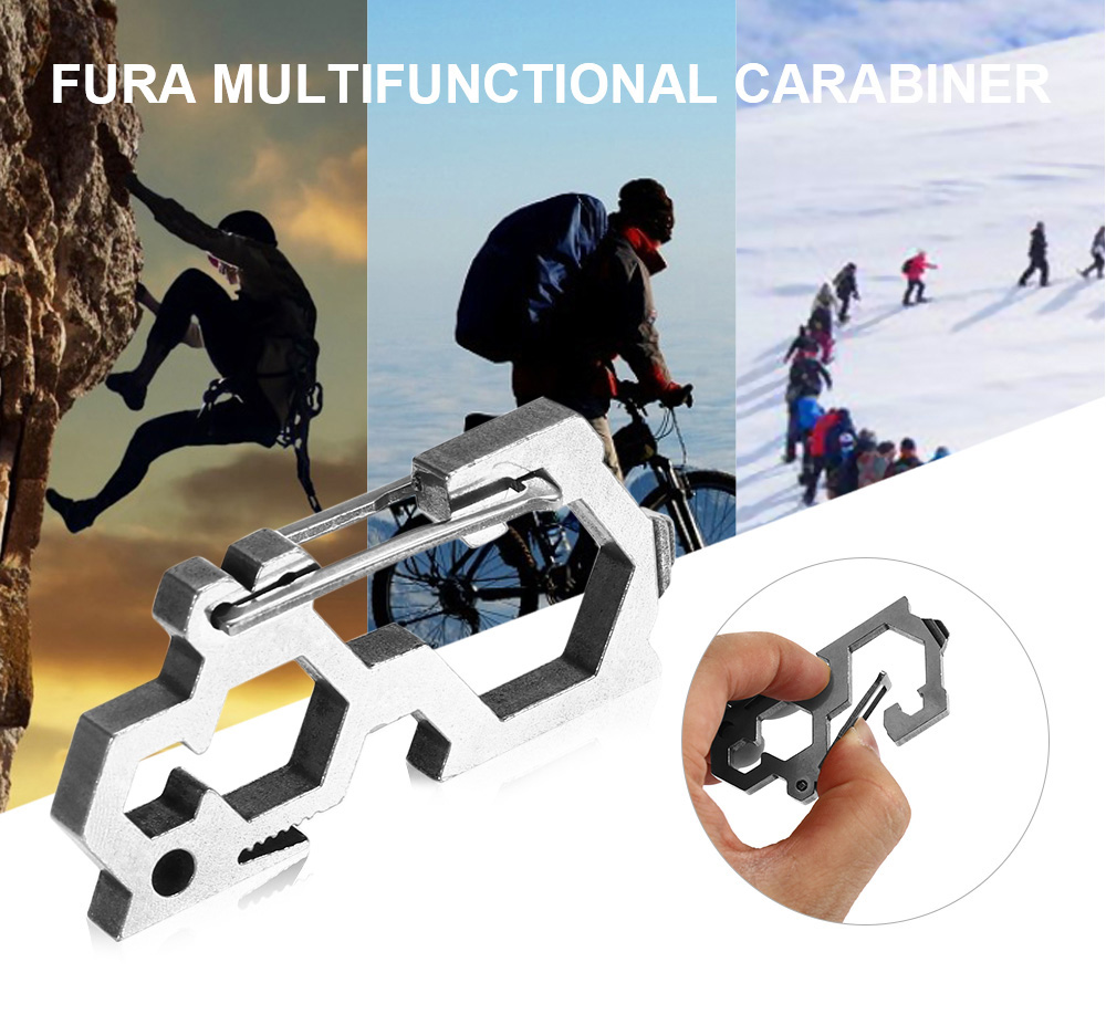 FURA Multifunctional Carabiner with Hex Wrench / Bottle Opener / Flat Screwdriver Function