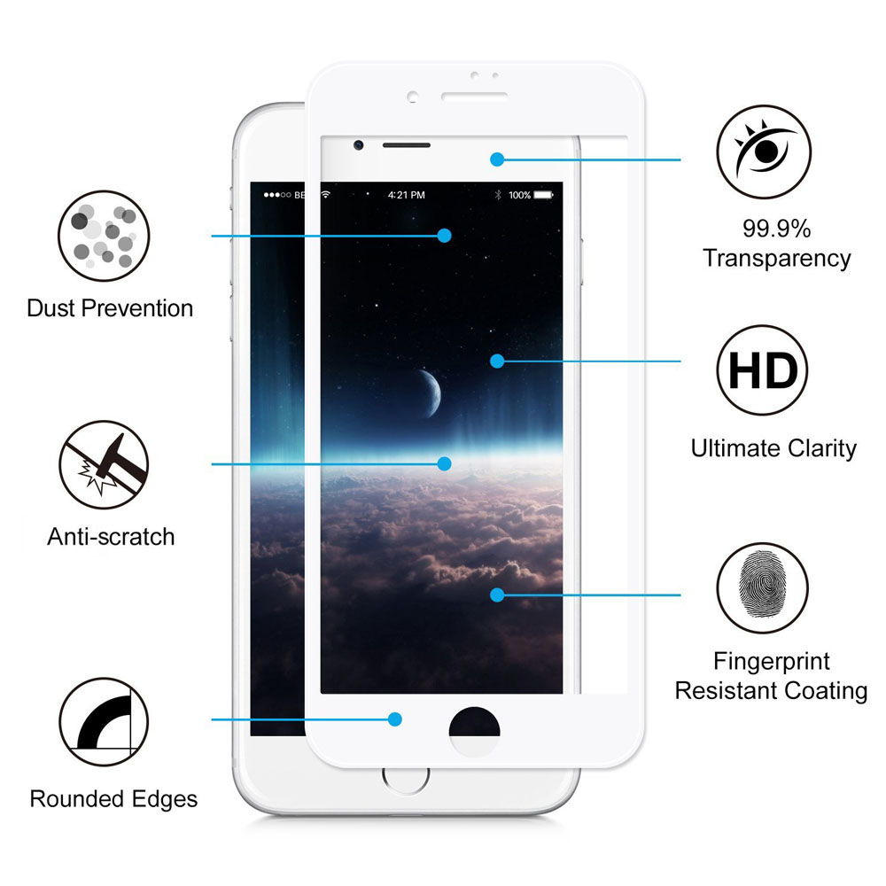 Hat - Prince Tempered Glass Screen Protective Film for iPhone 7 0.2mm 9H 3D Full Cover Explosion-proof Carbon Fiber Soft Edge Protector