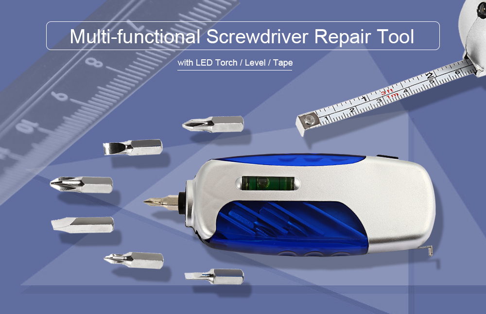 Multi-functional LED Screwdriver Repairing Tool with Level / Tape