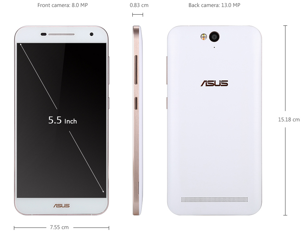 ASUS X550 5.5 inch 4G Phablet Android 5.1 Qualcomm Snapdragon MSM8939 64bit Octa Core 1.5GHz 3GB RAM 16GB ROM 13.0MP + 8.0MP Cameras
