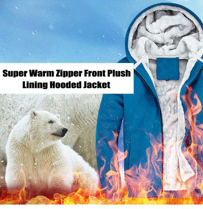 Super Warm Zipper Front Plush Lining Hooded Jacket