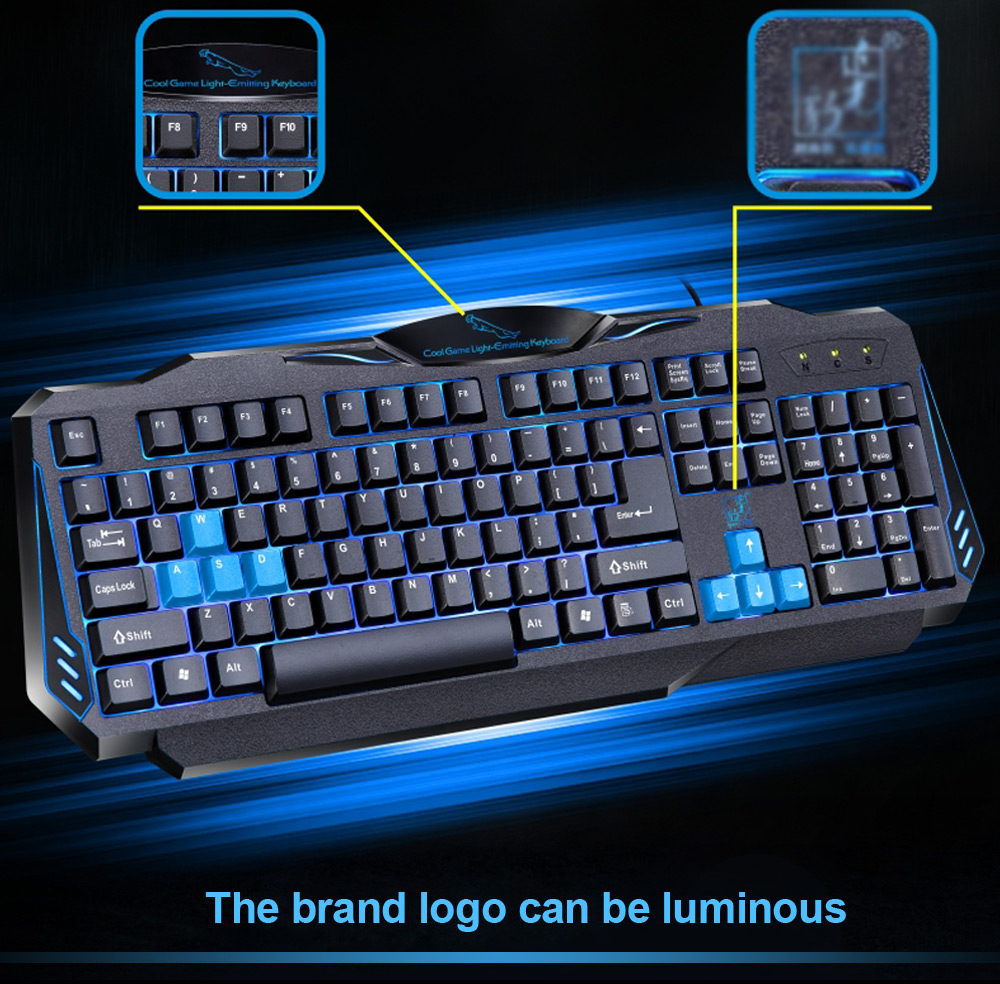 Zhuiguangbao G16 USB Wired Gaming Keyboard with LED Breathing Lamp