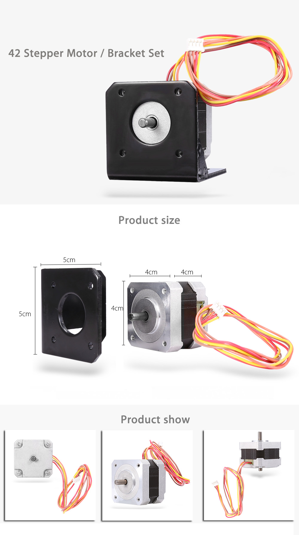 0.8A 1.8 Degree 42Stepper Motor Two-phase with Bracket Set for 3D Printer / Engraving Machine