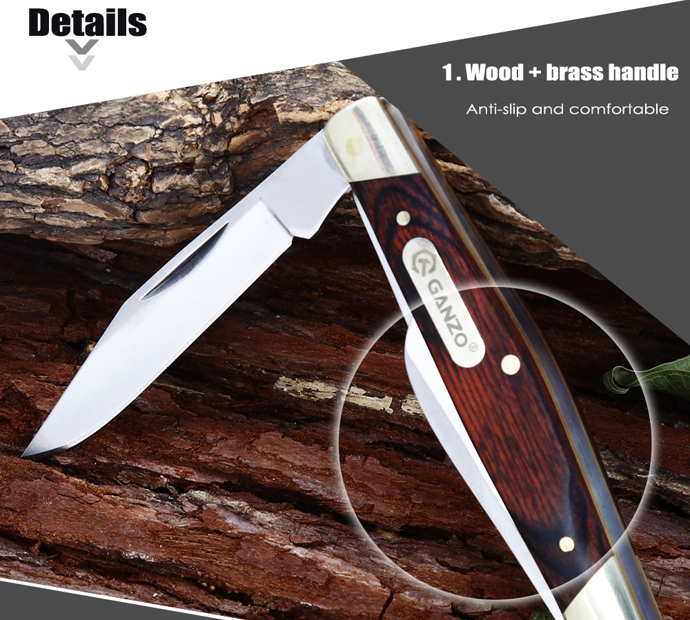 Ganzo G725M Folding Knife with No Lock / Wood + Brass Handle