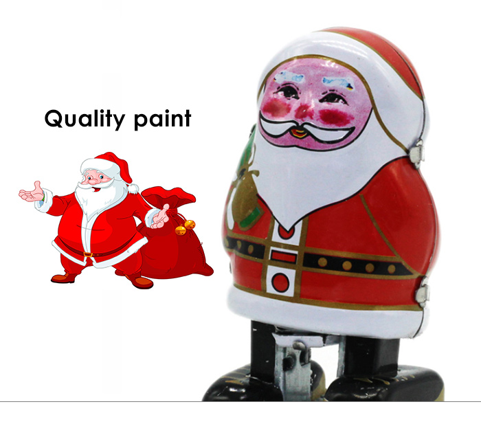 Classical Santa Clause Clockwork Tin Toy Intelligent Present for Kid