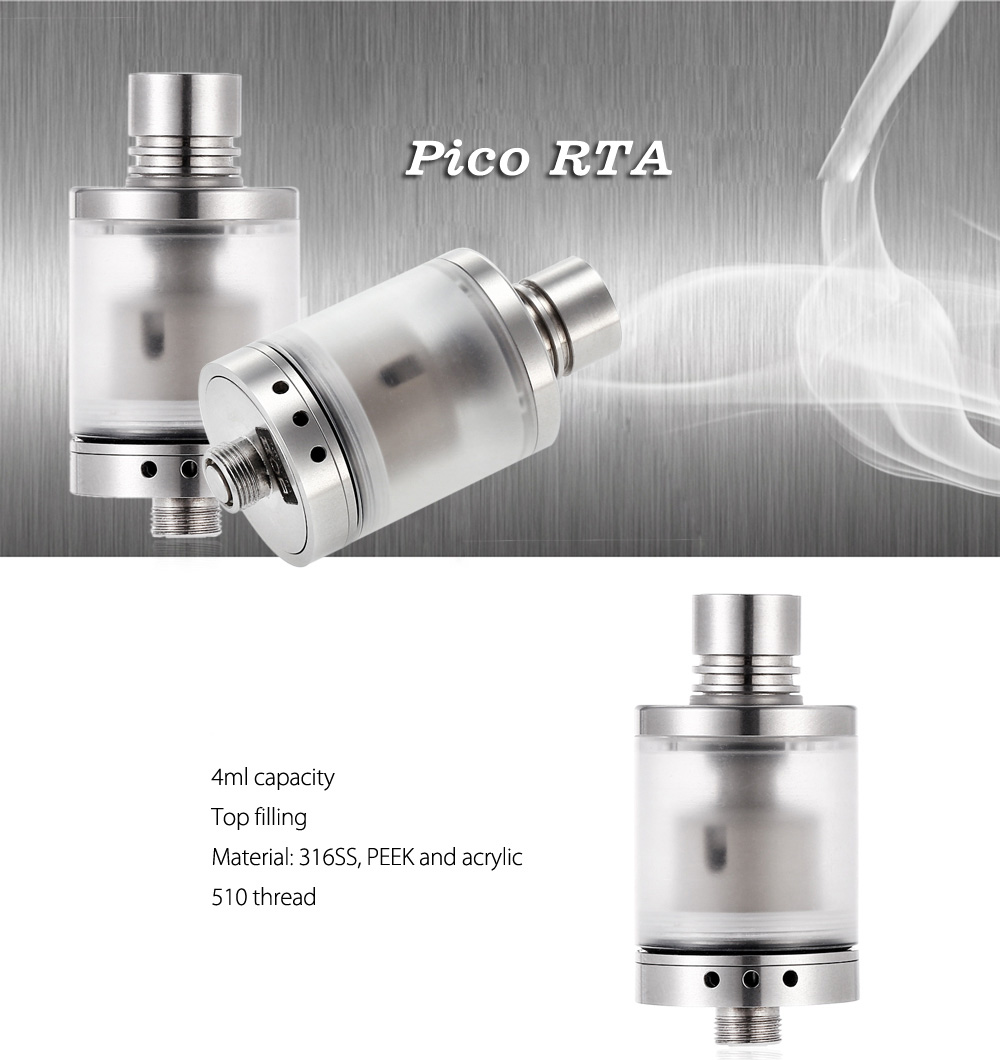 Pico RTA with Extra Replacement PEEK Tank / 4ml Capacity / Bottom Adjustable Airflow / Top Filling for E Cigarette
