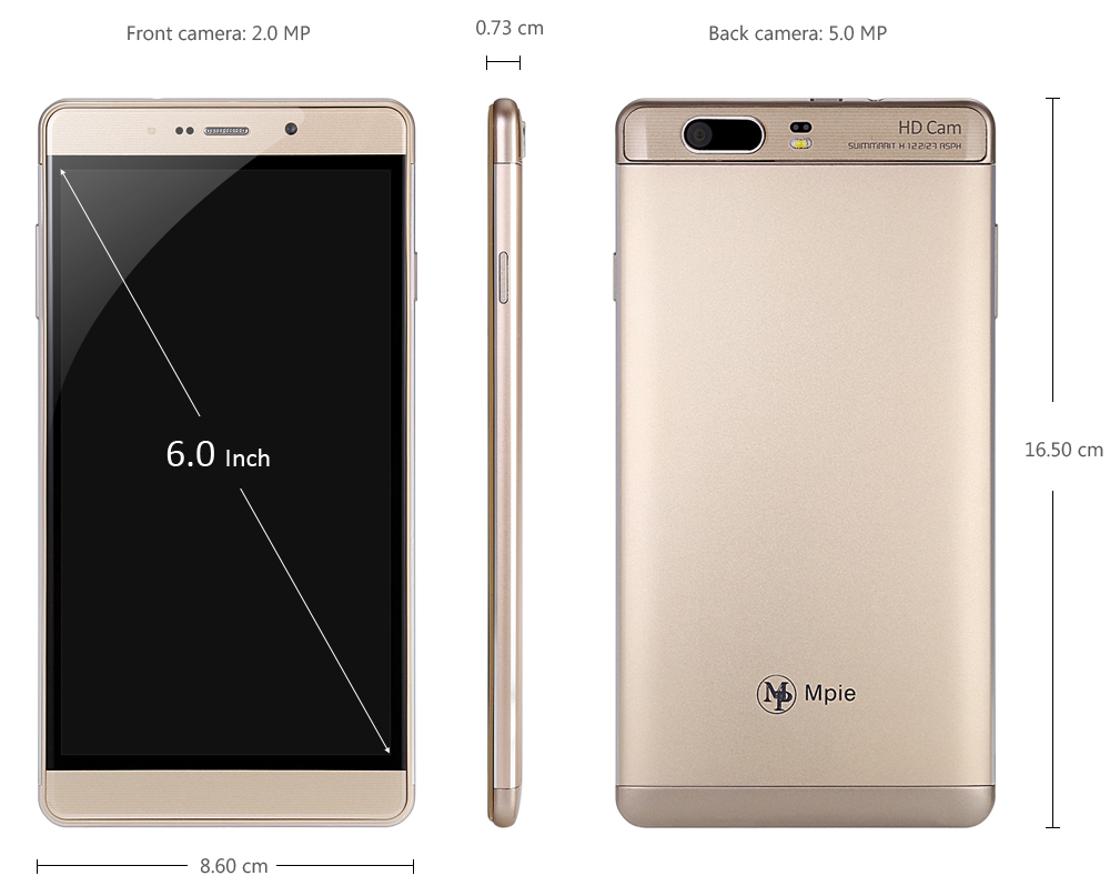 Mpie S12 Android 5.1 6.0 inch 3G Smartphone MTK6580 Quad Core 1.3GHz 1GB RAM 16GB ROM Dual Cameras Smart Wake-up
