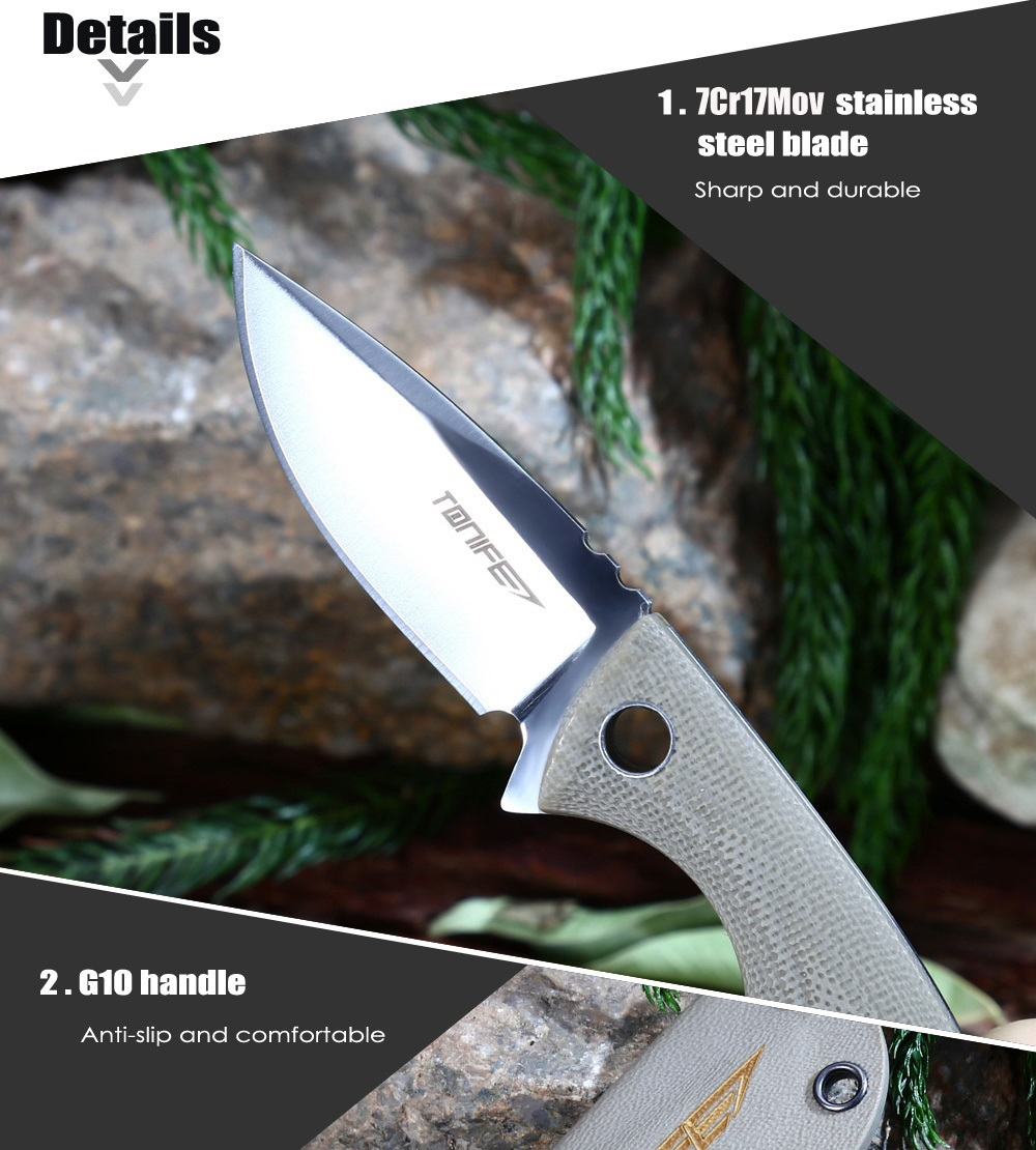 Tonife HKT2018WS Full Tang Fixed Blade Knife with G10 Handle / Sheath
